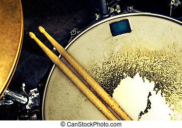 musik, und, instrument, hintergrund