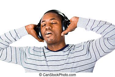musik, ung, lyssnande, vuxen