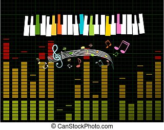 musik, vektor, -, graf, bakgrund, tangentbord, öka, studio, ...