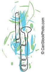 musik, vektor, instrument., abbildung