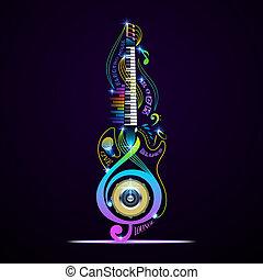 musikalisches, live., collage, jazz, gestein, elektronisch, aufenthaltsraum, blues, instrumente