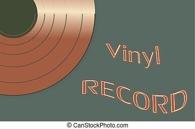 musikalisk, audio, är, en, gammal, årgång, retro, hipster, antikvitet, vinyl teckna uppe, och, en, inskrift, vinyl teckna uppe, på, den, bakgrund, av, den, 50, 60's, 70, 80, 90, och, avskrift, space., vektor, illustration