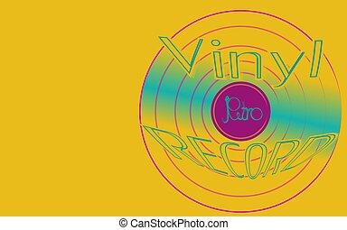 musikalisk, audio, är, en, gammal, årgång, retro, hipster, antikvitet, vinyl teckna uppe, och, en, inskrift, vinyl teckna uppe, på, den, bakgrund