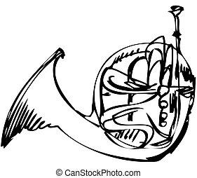 musikalisk, horn, koppar, skiss