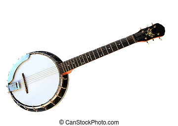 musikalisk, isolerat, instrument, banjo, bakgrund., vit