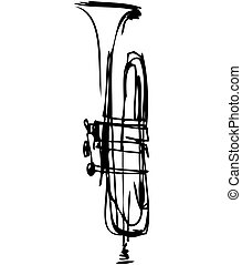 musikalisk, röret, instrument, skiss, koppar