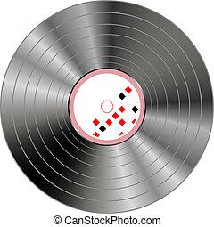 musikalisk, vinyl teckna uppe, bakgrund, isolerat, vita