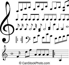 musikaliskt noterar, signs.