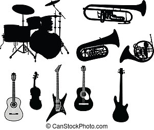 musikalsk begavet, sæt, instrumenter