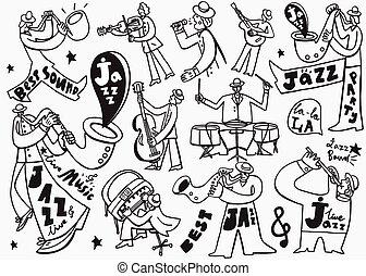 musiker, doodles, jazz
