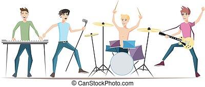 musiker, felsen- gruppe, freigestellt, weiß, hintergrund