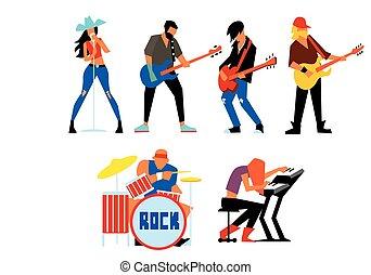 musiker, felsen- gruppe, freigestellt, weiß, hintergrund.