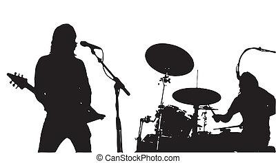 musiker, gitarrist, drumer