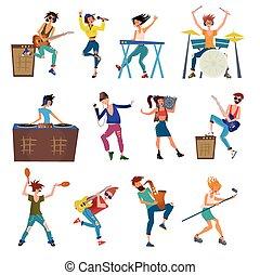 musiker, karikatur, vektor, charaktere, spielende ,...