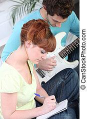 musiker, komponieren, a, lied, zusammen