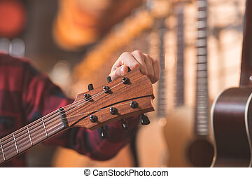 musiker, mit, a, gitarre
