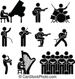 musiker, pianist, koncert, kor