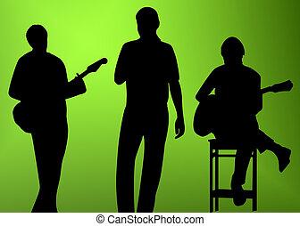 musiker, silhouette