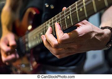 musiker, spiele, a, gitarre