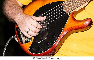 musiker, spiele, baßgitarre