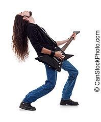 musiker, spiele, der, gitarre