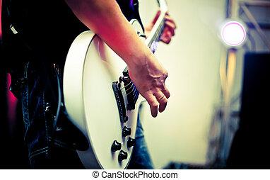 musiker, spiele, gitarre, an, a, concert