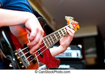 musiker, spielende , a, gitarre