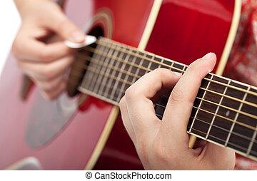 musiker, spielende , auf, akustikgitarre
