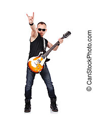 musiker, spielende , auf, elektrisch, gitarre