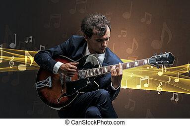 musiker, spielende , auf, gitarre, mit, notizen, ungefähr