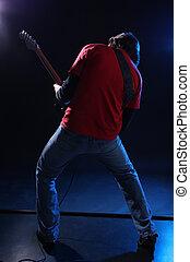 musiker, spielende , elektrische gitarre, bühne