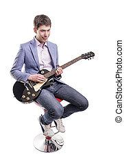 musiker, spielende , guitar.