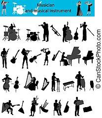 musiker, und, musikinstrument
