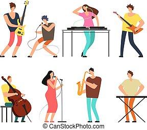 musikgruppe, musiker, mit, musikinstrumente_, spielende...