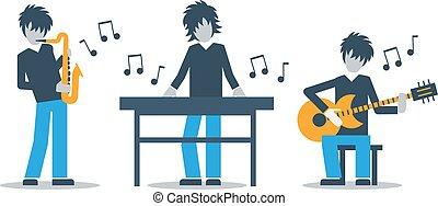 musikgruppe, spielende , live konzert, saxophon, tastatur,...