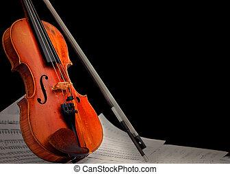 musikinstrument, ?, geige, und, notizen