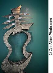 musikinstrument, kunst, statue