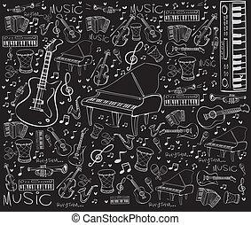 musikinstrumente, gekritzel