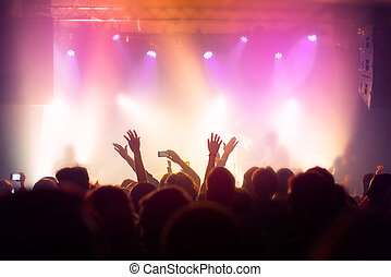 musikkonzert, crowd, leute, genießen, leben, gestein, leistung