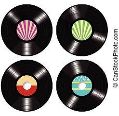 musikplatten, vektor, vinyl, langspielplatte