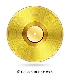 musikplatten, weißes, scheibe, realistisch, goldenes