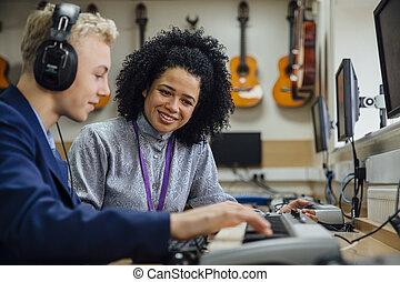 musikunterricht, lernen, tastatur