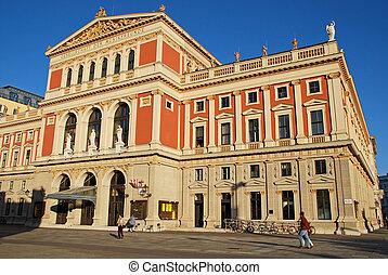 "VIENNA, AUSTRIA - OCTOBER 17, 2008: The Wiener Musikverein (English: ""Viennese Music Association"") is a famous concert hall in Vienna, Austria. It was built in 1870."
