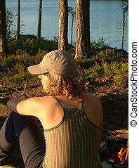 musing - woman at campfire