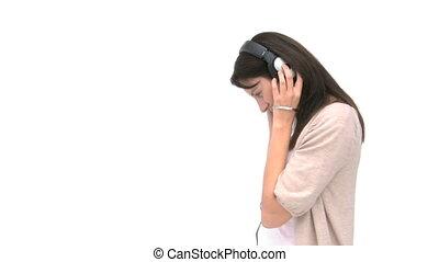 musique écouter, femme, heureux