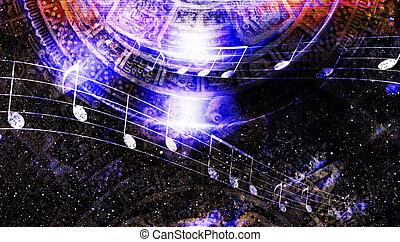 musique, étoiles, fond, maya, cosmique, note, couleur, ancien, calendrier, informatique, résumé, espace, collage.