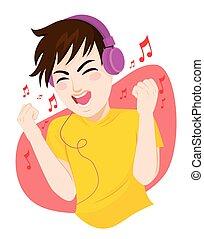 musique, adolescent, écoute, homme