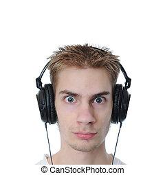 musique, adolescent, écoute