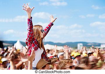 musique, ados, apprécier, été, eux-mêmes, festival