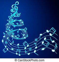 musique, arbre, noël